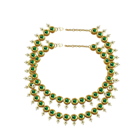 Green Color Kundun Stud-Gold Platted Brass Anklets - ank280