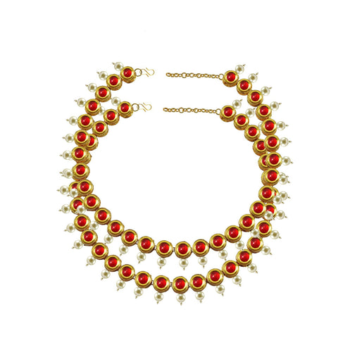 Red Color Kundun Stud-Gold Platted Brass Anklets - ank281