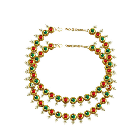 Golden Color Kundun Stud-Gold Platted Brass Anklets - ank284