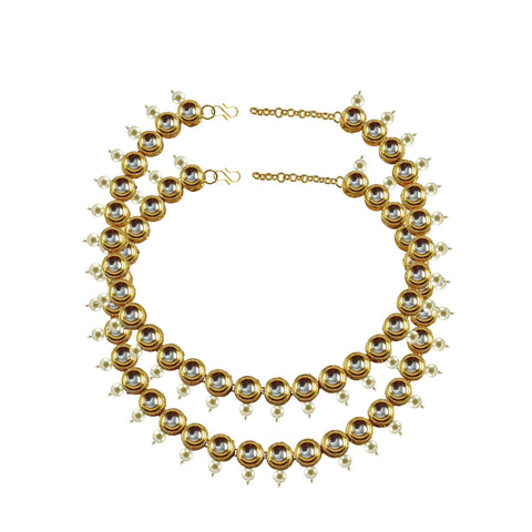 Golden Color Kundun Stud-Gold Platted Brass Anklets - ank285