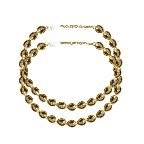 Golden Color Kundun Stud-Gold Platted Brass Anklets - ank287