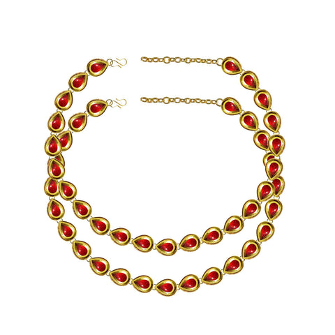 Red Color Kundun Stud-Gold Platted Brass Anklets - ank288