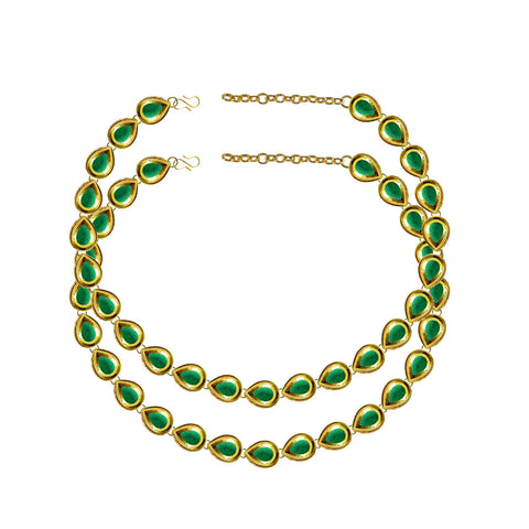 Green Color Kundun Stud-Gold Platted Brass Anklets - ank289