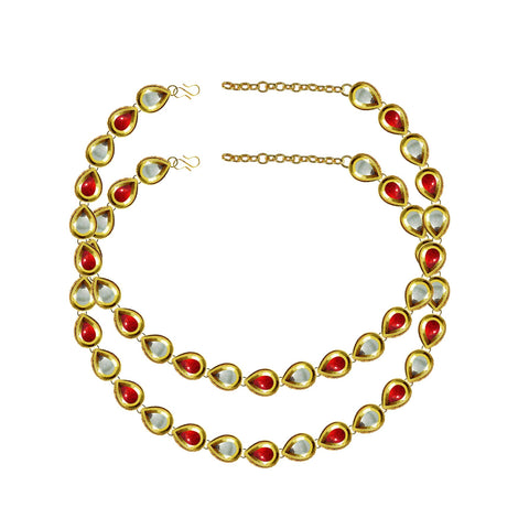 Golden Color Kundun Stud-Gold Platted Brass Anklets - ank291
