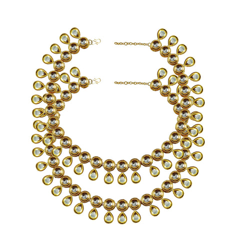 Golden Color Kundun Stud-Gold Platted Brass Anklets - ank294