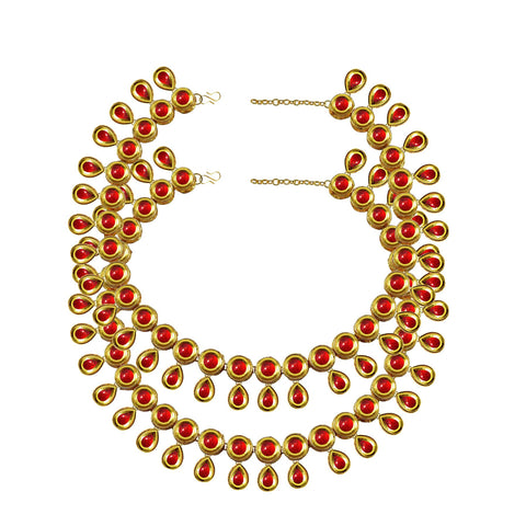 Red Color Kundun Stud-Gold Platted Brass Anklets - ank295