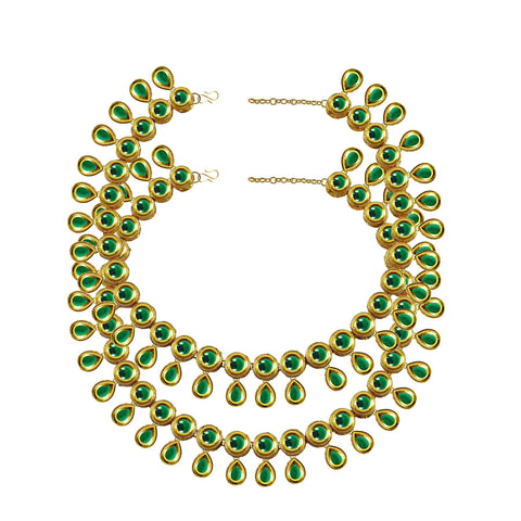 Green Color Kundun Stud-Gold Platted Brass Anklets - ank296