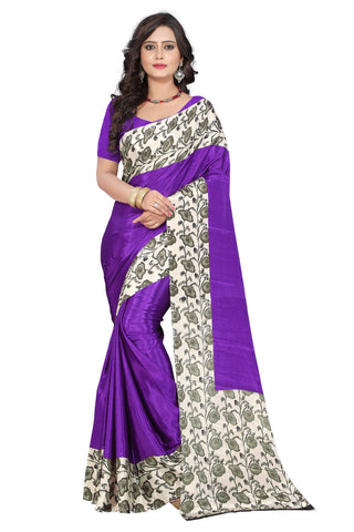 Purple Color Crepe Saree - apple-crepe-purple