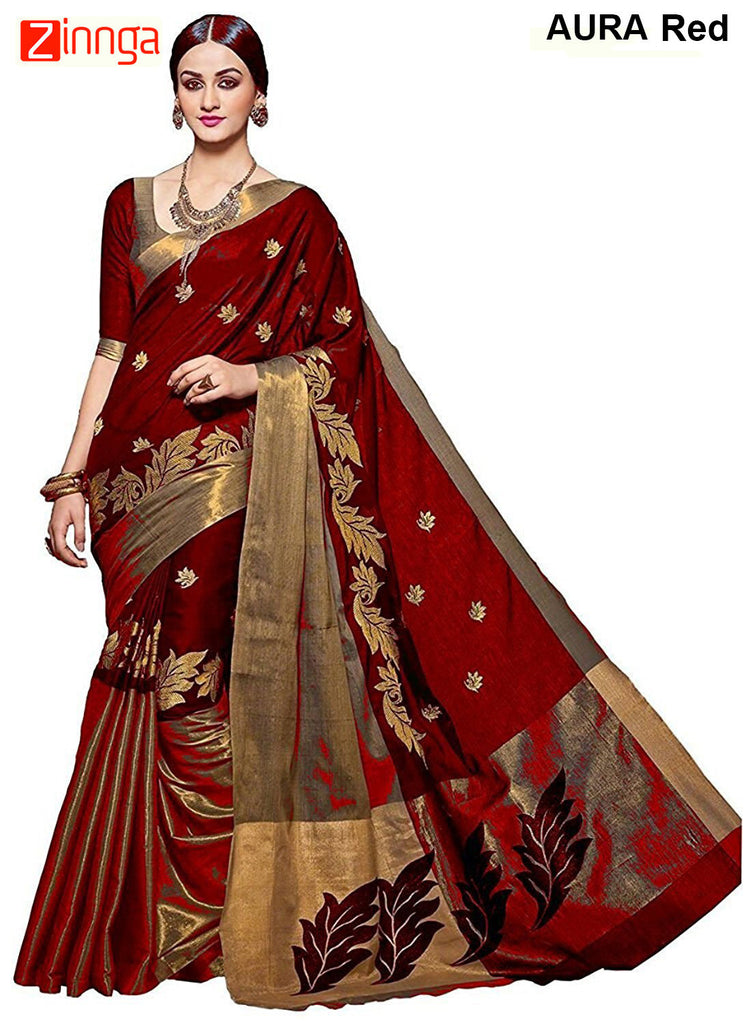 SRP FASHION-Women's Beautiful Bhagalpuri Cotton Silk Saree With Blouse - Aura Red
