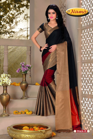 Black Color Poly Cotton Saree - aurablacksaree