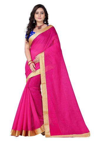 Pink Color Cotton Saree - bahubali-pink-1