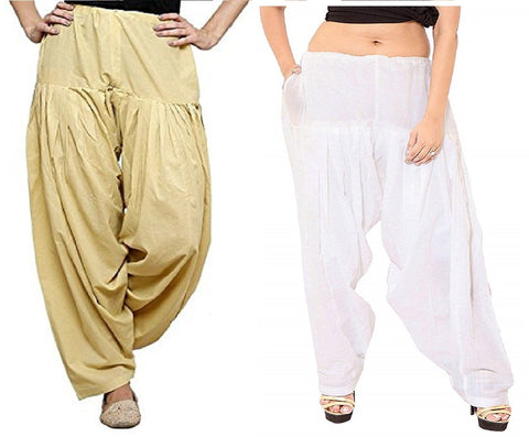 COMBOS  - Baige And White Color Cotton Stitched Women Patiala Pants - baige_white
