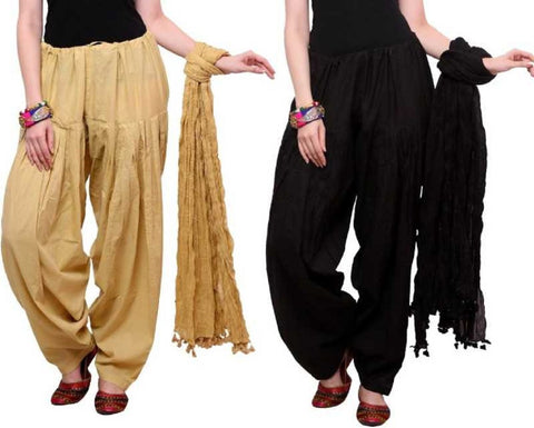 COMBOS - Baigeblack Color Cotton Stitched Women Patiala Pants With Dupata - Baigeblack