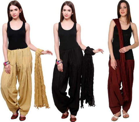 COMBOS - Baigeblackbrown Color Cotton Stitched Women Patiala Pants With Dupata - Baigeblackbrown