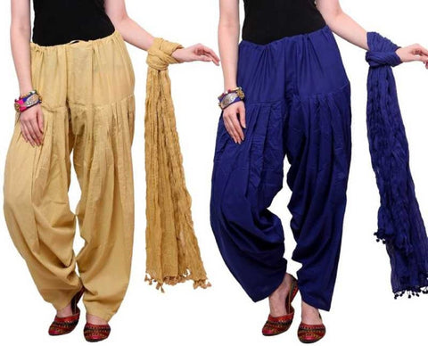 COMBOS - Baigeblue Color Cotton Stitched Women Patiala Pants With Dupata - Baigeblue