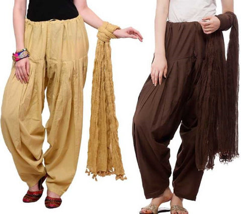 COMBOS - Baigebrown Color Cotton Stitched Women Patiala Pants With Dupata - Baigebrown