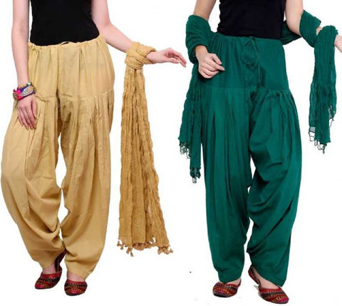 COMBOS - Baigedarkgreen Color Cotton Stitched Women Patiala Pants With Dupata - Baigedarkgreen
