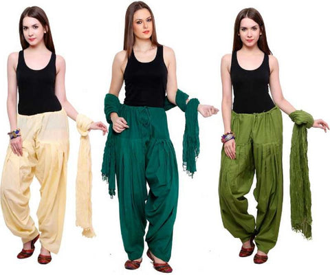 COMBOS - Baigegreenmehendi Color Cotton Stitched Women Patiala Pants With Dupata - Baigegreenmehendi
