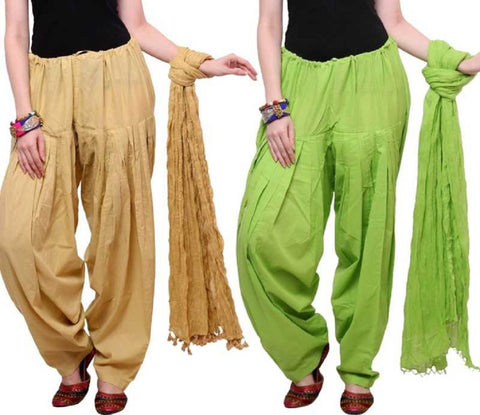 COMBOS - Baigeparrot Color Cotton Stitched Women Patiala Pants With Dupata - Baigeparrot
