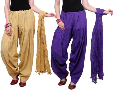 COMBOS - Baigepurple Color Cotton Stitched Women Patiala Pants With Dupata - Baigepurple