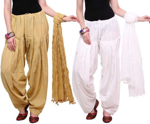 COMBOS - Baigewhite Color Cotton Stitched Women Patiala Pants With Dupata - Baigewhite