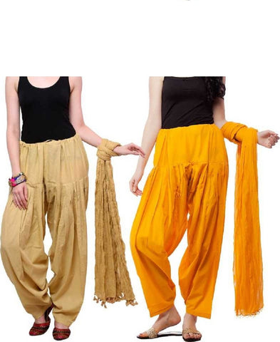 COMBOS - Baigeyellow1 Color Cotton Stitched Women Patiala Pants With Dupata - Baigeyellow1