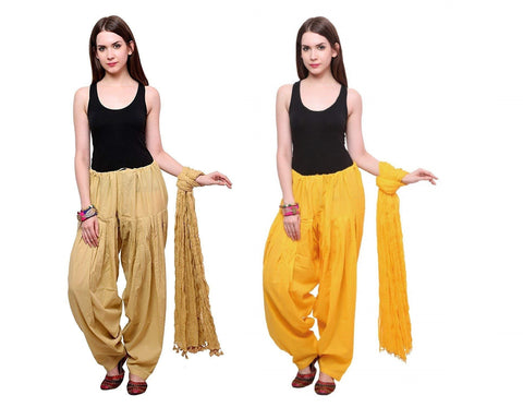 COMBOS - Baigeyellow Color Cotton Stitched Women Patiala Pants With Dupata - Baigeyellow