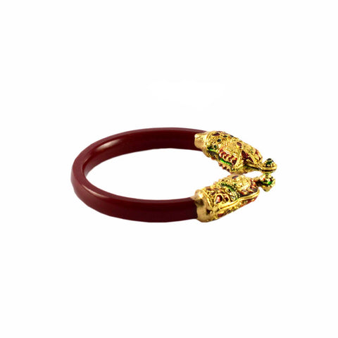 Red Color Gold Platted Acrylic-Brass Bangle - ban1000