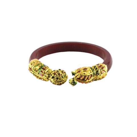 Red Color Gold Platted Acrylic-Brass Bangle - ban1002