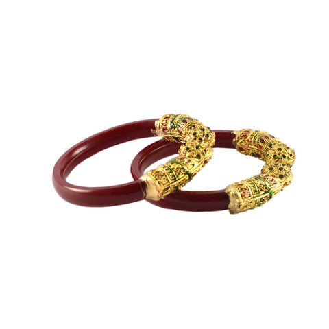 Red Color Gold Platted Acrylic-Brass Bangle - ban1003