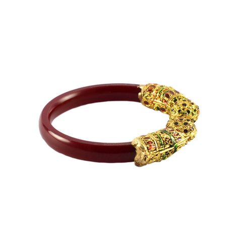 Red Color Gold Platted Acrylic-Brass Bangle - ban1004
