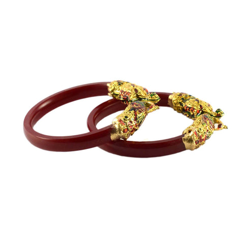 Red Color Gold Platted Acrylic-Brass Bangle - ban1005