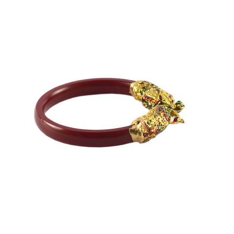 Red Color Gold Platted Acrylic-Brass Bangle - ban1006