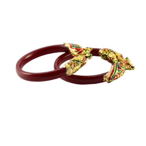 Red Color Gold Platted Acrylic-Brass Bangle - ban1009