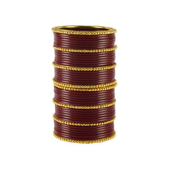 Maroon Color Gold Platted Acrylic-Brass Bangle - ban1205