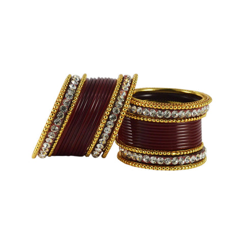 Maroon Color Gold Platted Acrylic-Brass Bangle - ban1212