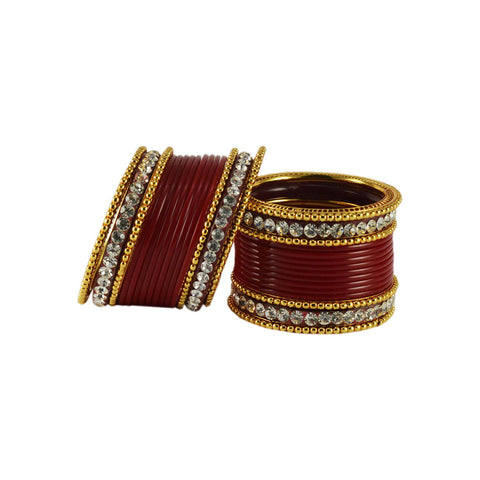 Red Color Gold Platted Acrylic-Brass Bangle - ban1213