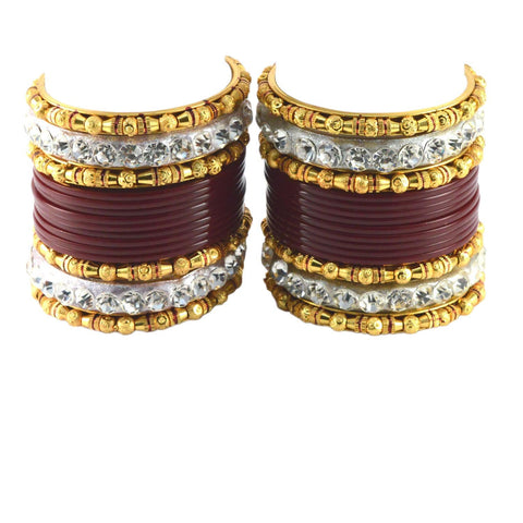 Maroon Color Stone Stud Acrylic-Brass Bangle - ban1215