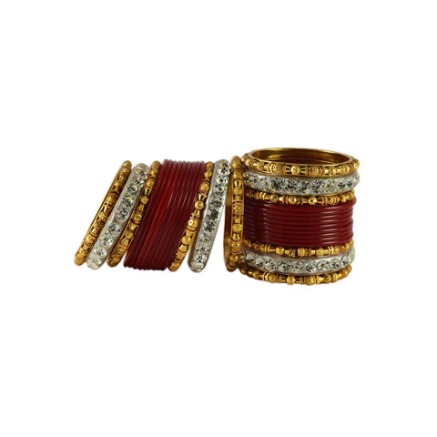 Red Color Stone Stud Acrylic-Brass Bangle - ban1216
