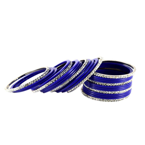 Blue Color Stone Stud Acrylic-Brass Bangle - ban1275