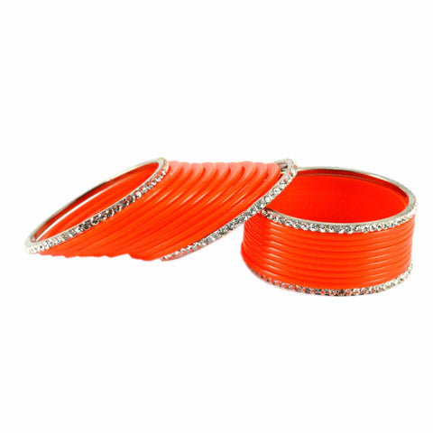 Orange Color Stone Stud Acrylic-Brass Bangle - ban1285