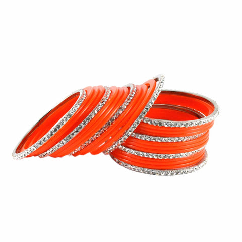 Orange Color Stone Stud Acrylic-Brass Bangle - ban1286