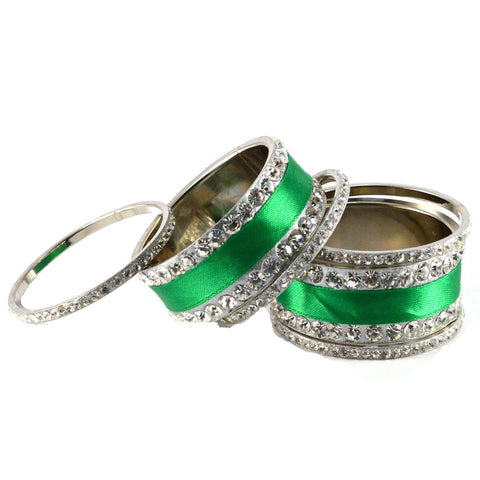 Green Color Stone Stud Brass Bangle - ban1357