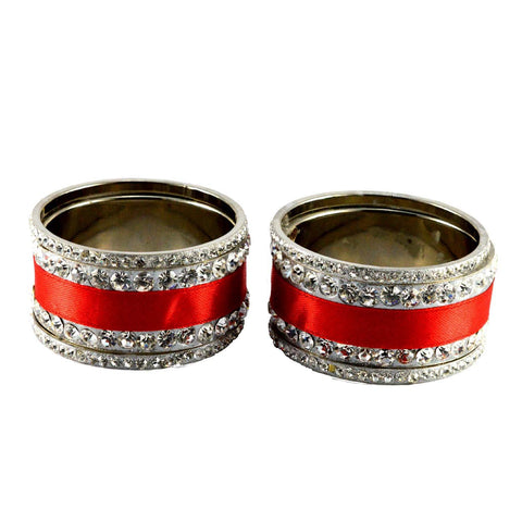 Red Color Stone Stud Brass Bangle - ban1359