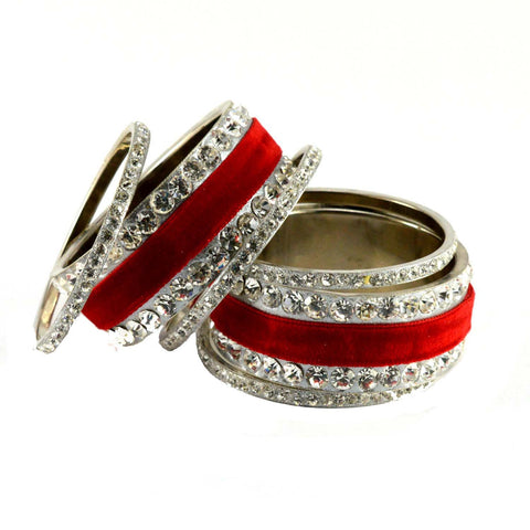 Red Color Stone Stud Brass Bangle - ban1361