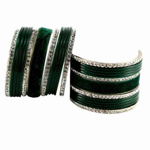 Green Color Stone Stud Acrylic-Brass Bangle - ban1364