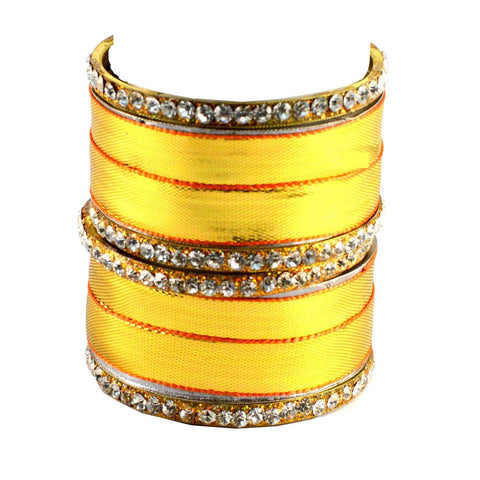 Golden Color Stone Stud Brass Bangle - ban1375