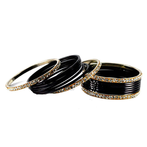 Black Color Stone Stud Brass Bangle - ban1384