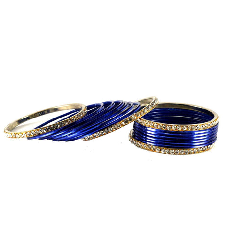 Blue Color Stone Stud Brass Bangle - ban1385
