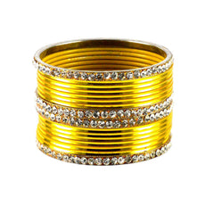 Yellow Color Stone Stud Brass Bangle - ban1392